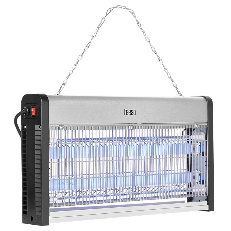 Lampa UV impotriva insectelor Teesa, 2 x 15 W, 486 x 72 x 264 mm, aluminiu/metal/ABS, tava detasabila, raza actiune 100 m2 shopu.ro