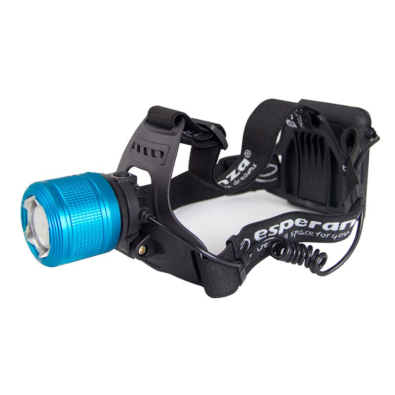 Lanterna frontala LED Draco Esperanza, T6, 5 W, 600 lm, rezistenta la apa, Negru/Albastru shopu.ro