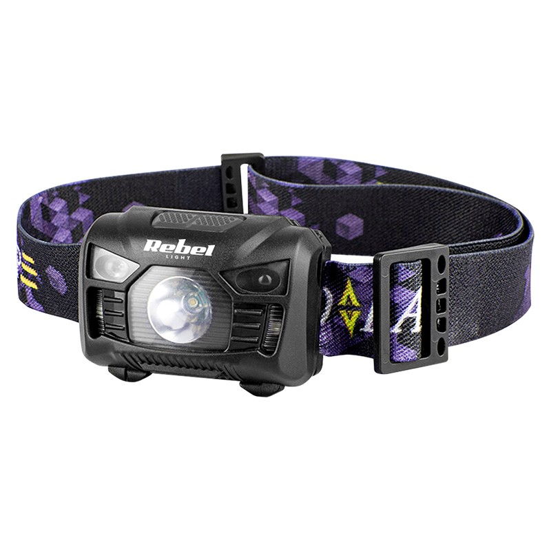 Lanterna frontala Rebel, 3 W, raza actiune 40 m, Micro USB, Negru/Mov shopu.ro