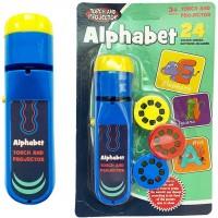 Proiector tip lanterna Alfabet Bambinice, 13 x 3.5 cm, 2 x AA, 3 dispozitive, 8 imagini, 3 ani+, Albastru