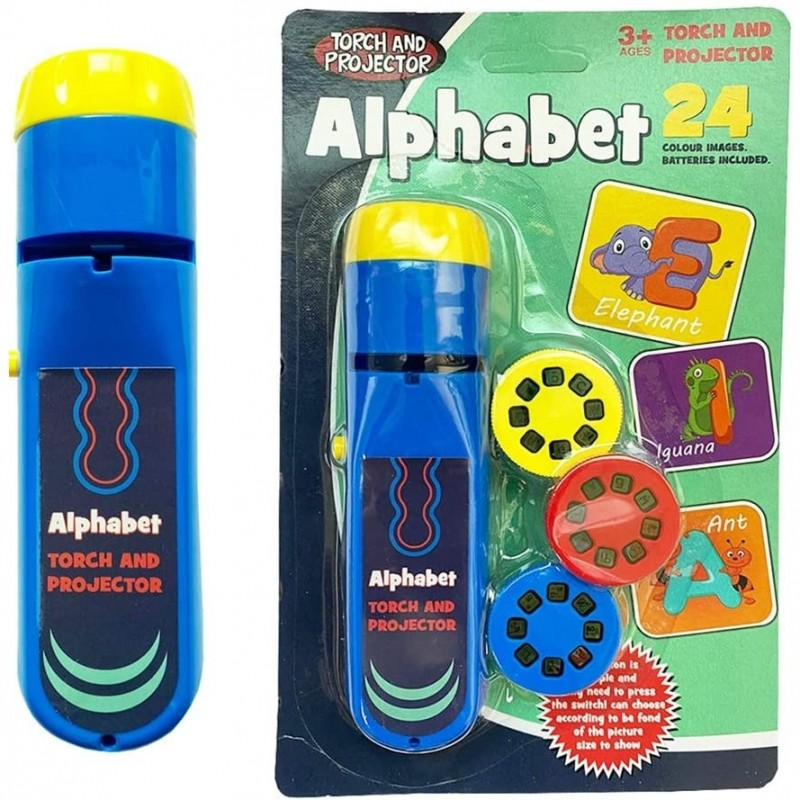 Proiector tip lanterna Alfabet Bambinice, 13 x 3.5 cm, 2 x AA, 3 dispozitive, 8 imagini, 3 ani+, Albastru 2021 shopu.ro