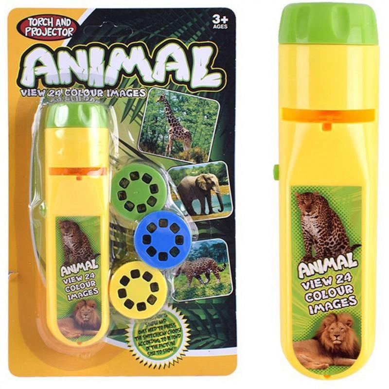 Proiector tip lanterna Animale Bambinice, 13 x 3.5 cm, 2 x AA, 3 dispozitive, 8 imagini, 3 ani+, Galben 2021 shopu.ro