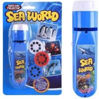 Proiector tip lanterna Animale marine Bambinice, 13 x 3.5 cm, 2 x AA, 3 dispozitive, 8 imagini, 3 ani+, Albastru