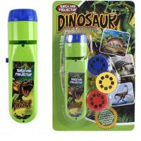 Proiector tip lanterna Dino Bambinice, 13 x 3.5 cm, 2 x AA, 3 dispozitive, 8 imagini, 3 ani+, Verde