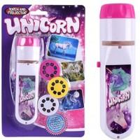 Proiector tip lanterna Unicorni Bambinice, 13 x 3.5 cm, 2 x AA, 3 dispozitive, 8 imagini, 3 ani+, Roz