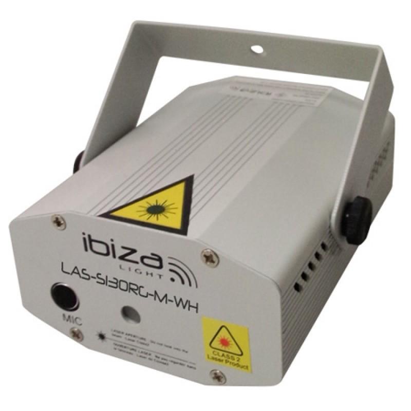 Laser Ibiza Mini Firefly pentru cluburi, 1300 mW, lumini Rosu/Verde, stativ inclus, argintiu 2021 shopu.ro