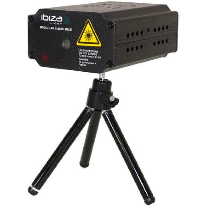 Laser Ibiza Mini Firefly pentru cluburi, 1300 mW, lumini Rosu/Verde, stativ inclus, negru 2021 shopu.ro