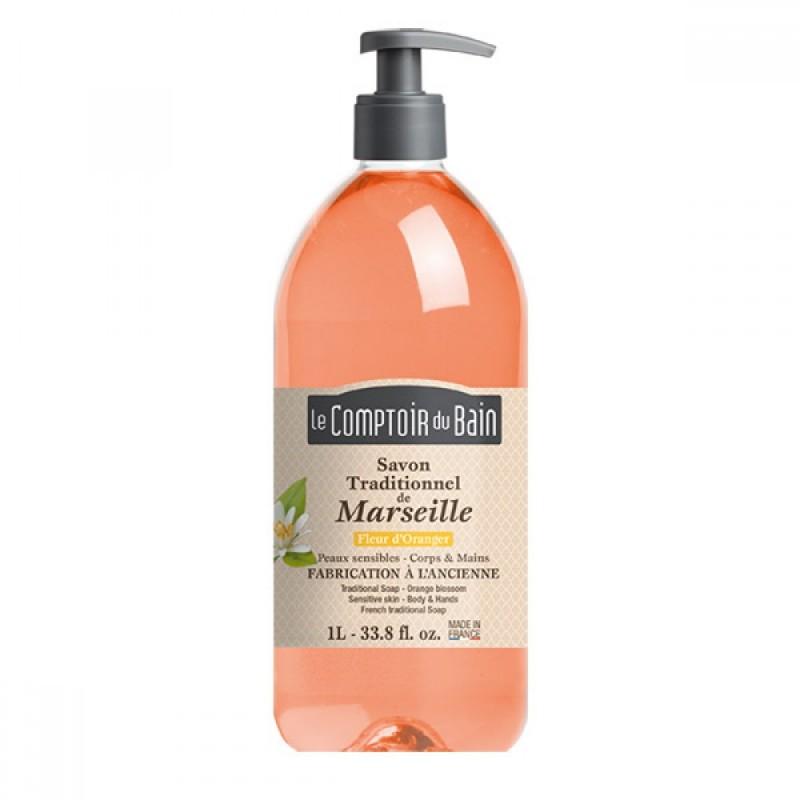 Sapun lichid de Marsilia Le Comptoir du Bain, 1000 ml, floare de portocal 2021 shopu.ro