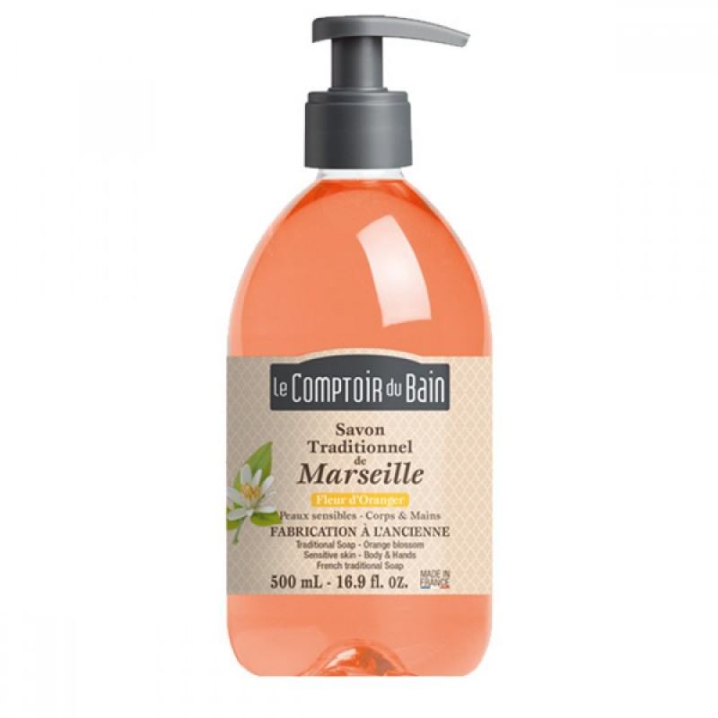 Sapun lichid de Marsilia Le Comptoir du Bain, 500 ml, floare de portocal 2021 shopu.ro