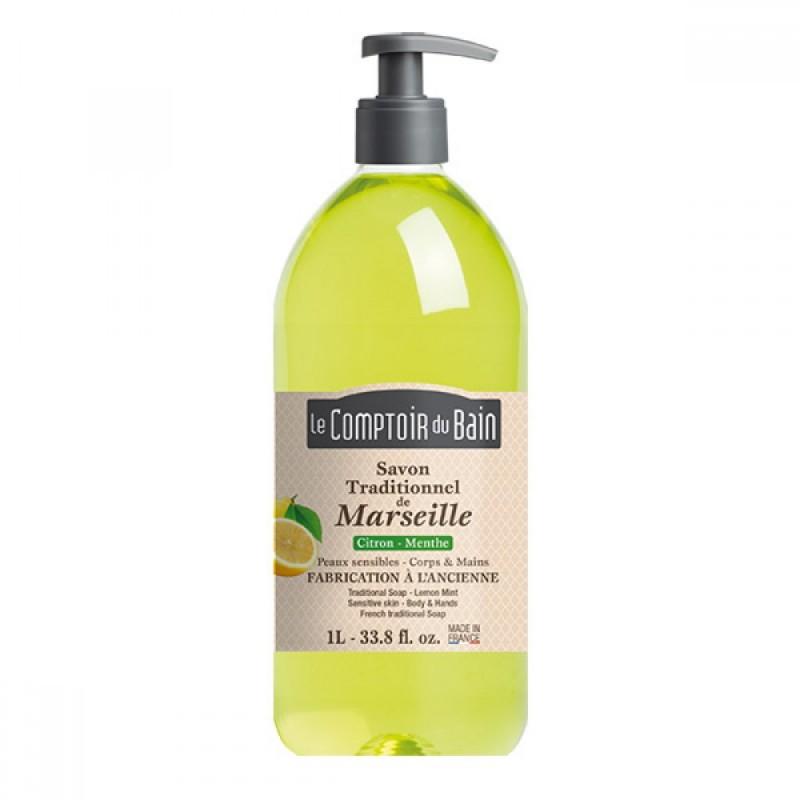 Sapun lichid de Marsilia Le Comptoir du Bain, 1000 ml, lamaie/menta 2021 shopu.ro