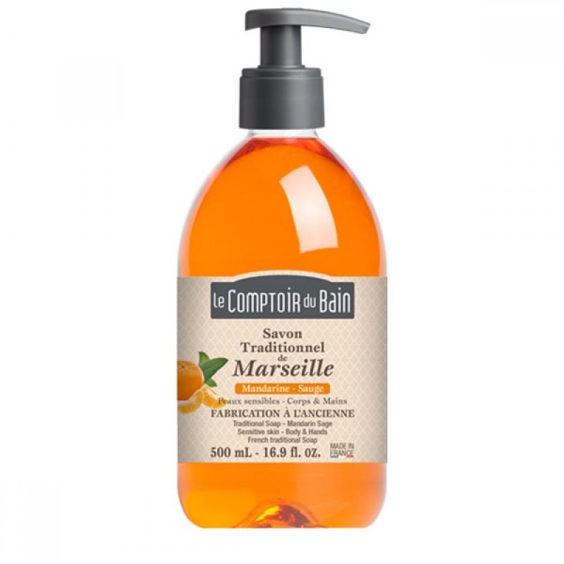 Sapun lichid de Marsilia Le Comptoir du Bain, 500 ml, mandarine/salvie 2021 shopu.ro