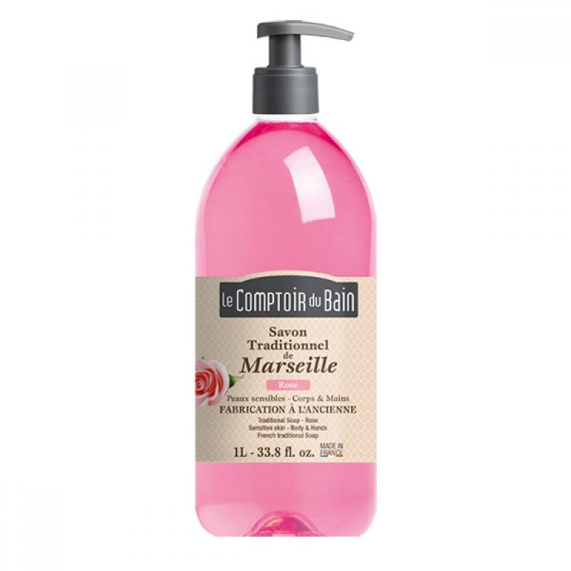 Sapun lichid de Marsilia Le Comptoir du Bain, 1000 ml, trandafir 2021 shopu.ro