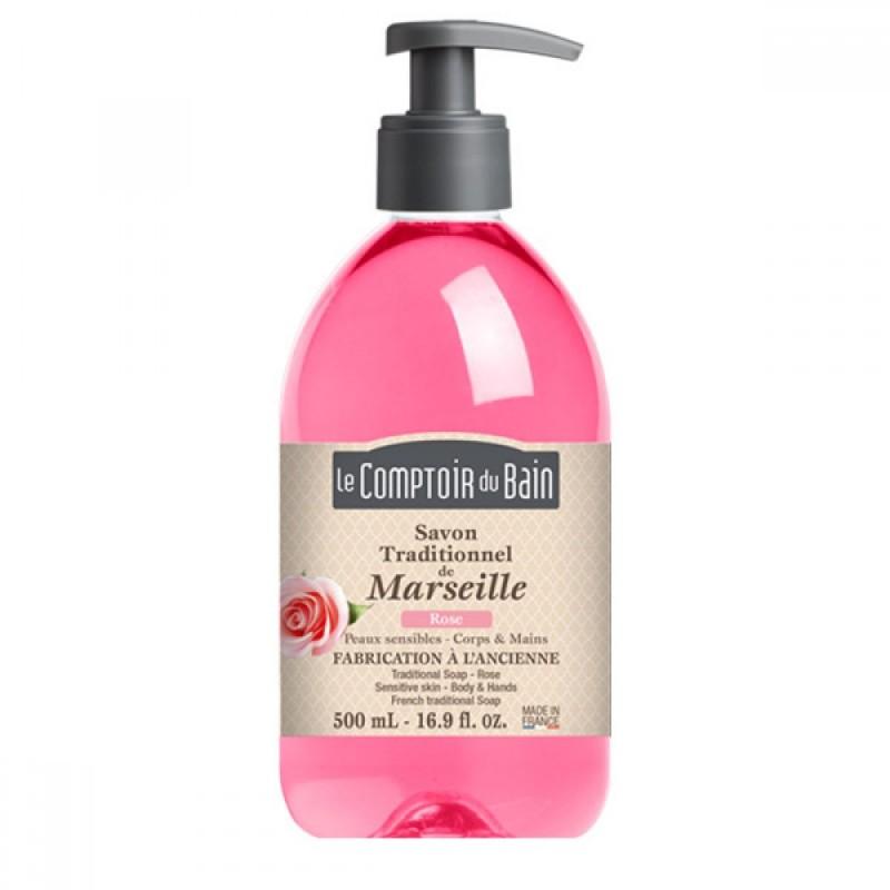 Sapun lichid de Marsilia Le Comptoir du Bain, 500 ml, trandafir 2021 shopu.ro