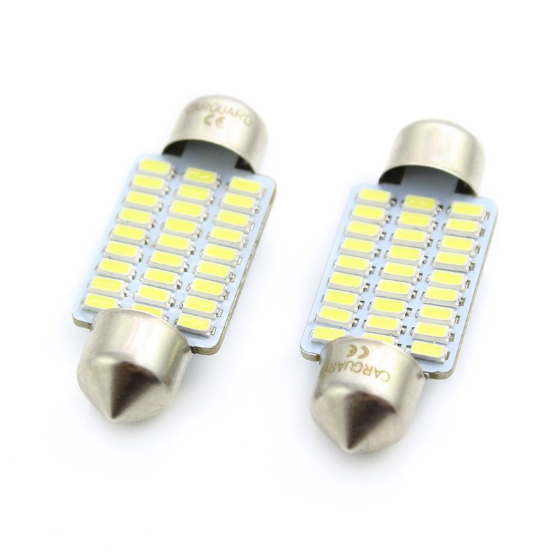 Set 2 becuri LED pentru plafoniera umar inmatriculare Carguard, 1.5 W, 12 V, 189 lm, tip SMD, 36 mm, Alb xenon 2021 shopu.ro