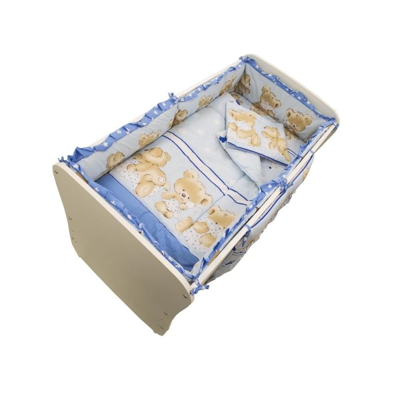 Set lenjerie Teddy Hug M1 MyKids, 120 x 60 cm, 5 piese, bumbac/poliester, Albastru 2021 shopu.ro