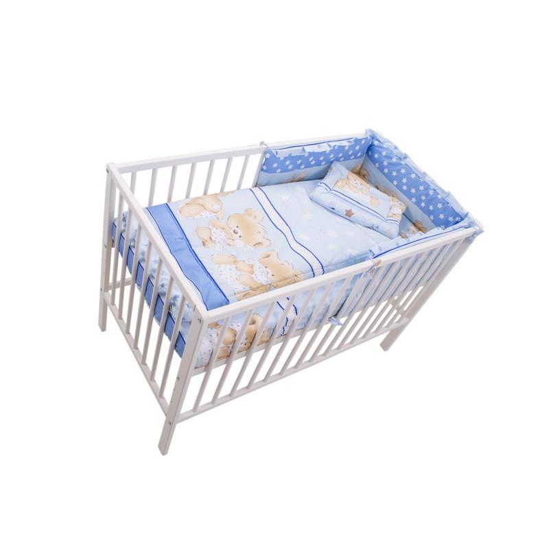 Set lenjerie Teddy Hug M2 MyKids, 120 x 60 cm, 4 piese, bumbac/poliester, Albastru 2021 shopu.ro