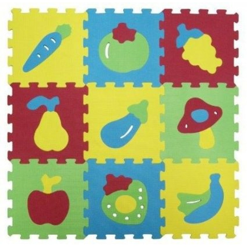 Covoras tip puzzle Ludi, spuma, 9 piese, 86.5 x 86.5 cm, 10 luni+, model fructe, Multicolor 2021 shopu.ro