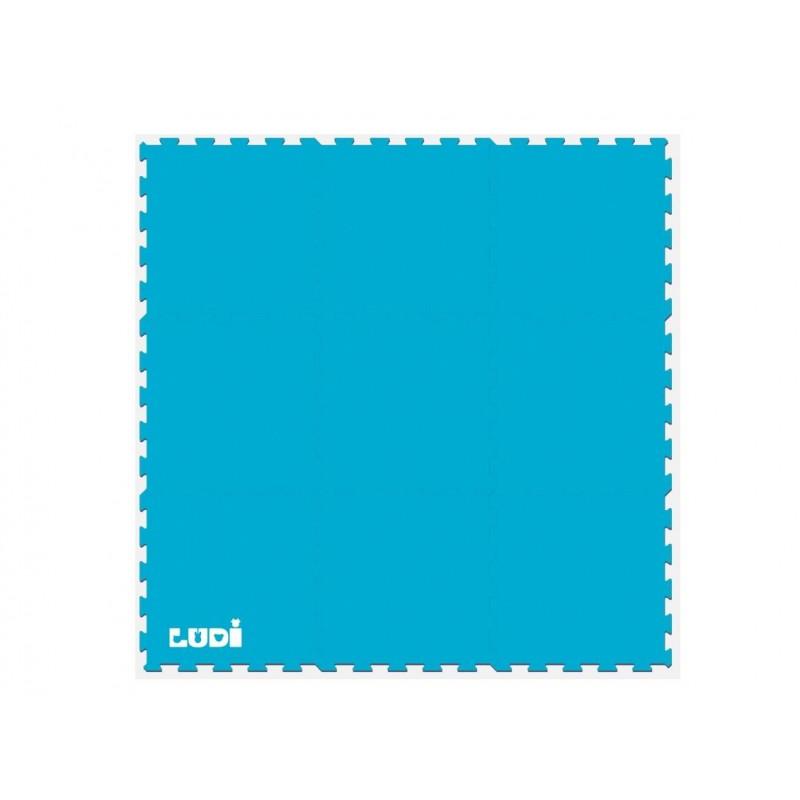 Covoras tip puzzle Ludi, EVA, 145 x 145 cm, 10 luni+, model sport , Albastru 2021 shopu.ro