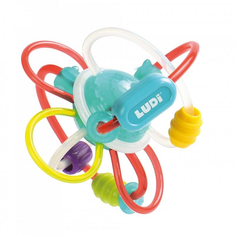 Minge senzoriala Twist Ludi, 12.5 cm, polipropilena/poliuretan, 10 luni+, Multicolor