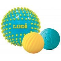 Set 3 mingii senzoriale Ludi, PVC, 6 luni+, Albastru