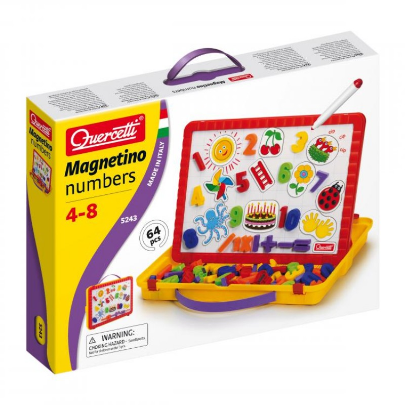 Set cifre magnetice Magnetino Numbers Quercetti, 64 piese, 4 ani+
