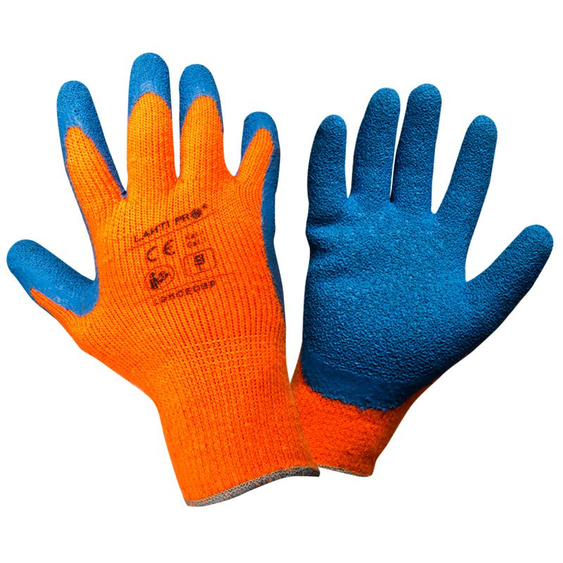 Manusi latex cu acril, protectie termica, confort ridicat, mansete elastice, marime 10/XL, Portocaliu 2021 shopu.ro