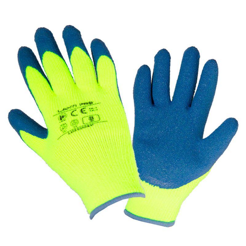 Manusi latex cu acril, protectie termica, confort ridicat, mansete elastice, marime 9/L, Verde shopu.ro