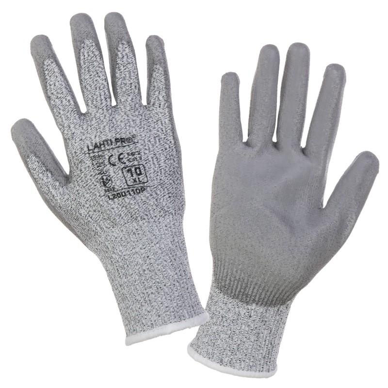 Manusi tricotate Lahti Pro, marimea 8, poliuretan, nivel rezistenta 5, Gri 2021 shopu.ro