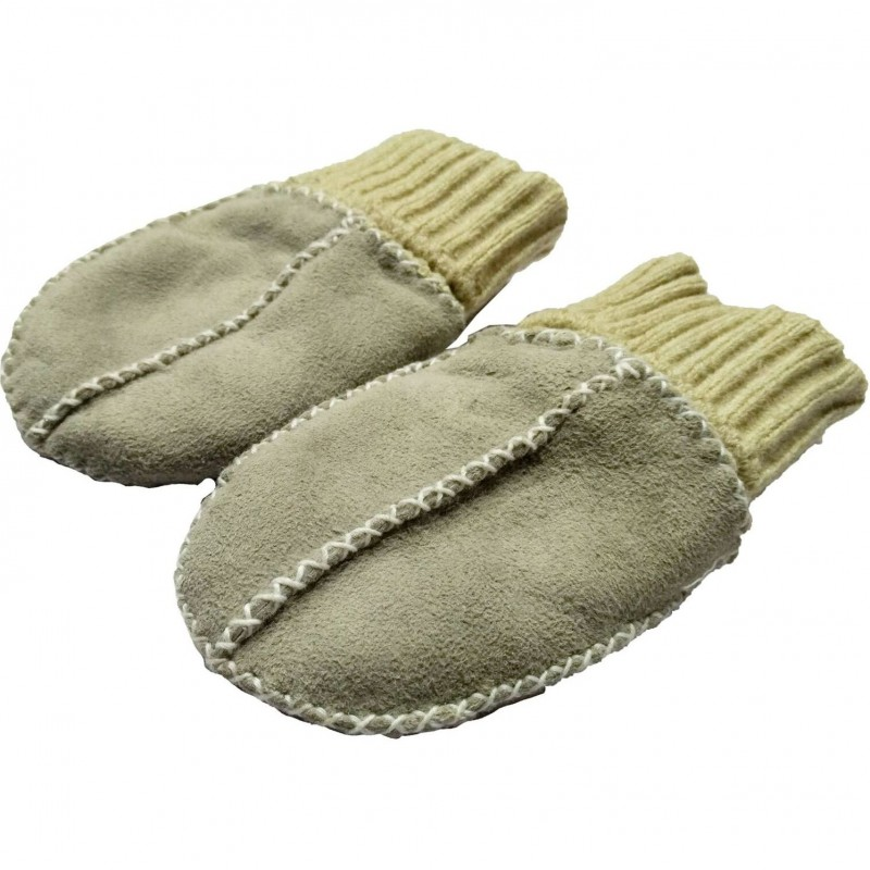 Manusi din piele si blanita de miel cu mansete tricotate Altabebe, Gri 2021 shopu.ro