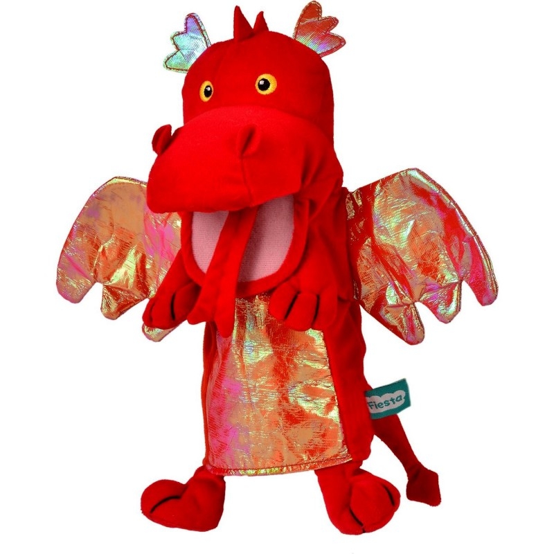 Marioneta de mana Dragon Fiesta Crafts, 28 x 28 cm, 3 ani+, Rosu 2021 shopu.ro