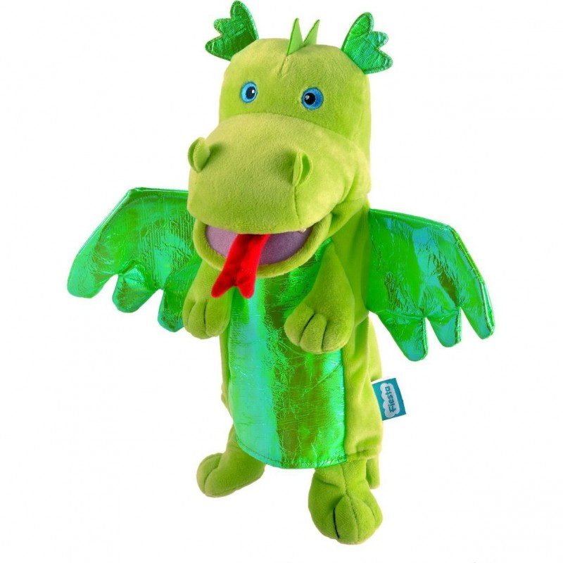 Marioneta de mana Dragonul Verde Fiesta Crafts, 28 x 28 cm, 3 ani+, Verde 2021 shopu.ro
