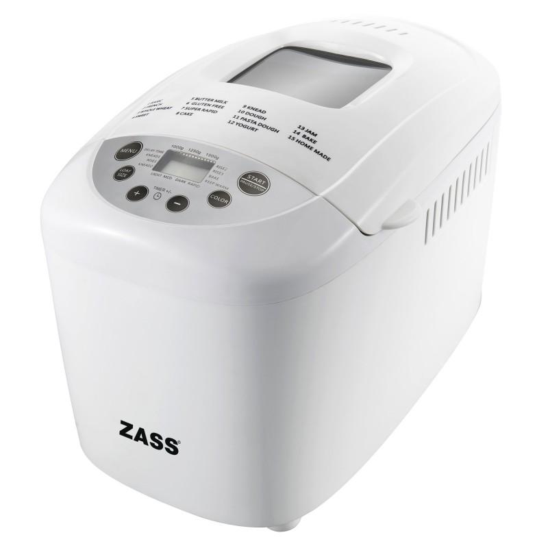Masina de facut paine Zass, 850 W, 1500 g, 15 programe, afisaj LCD, coacere si framantare, cana gradat inclusa 2021 shopu.ro