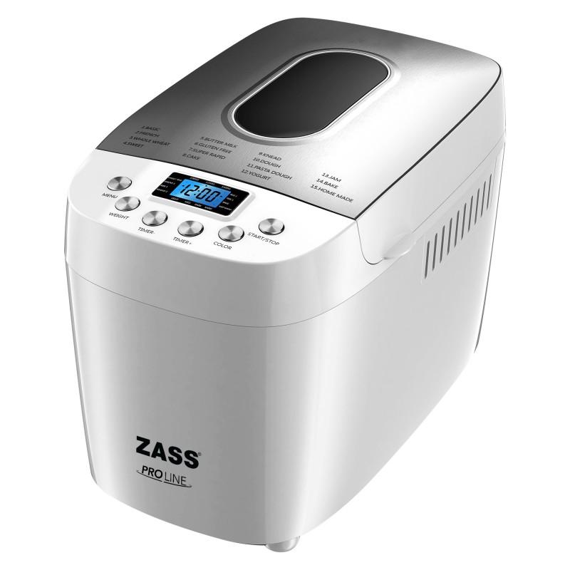 Masina de facut paine Zass, 850 W, 1500 g, 15 programe, afisaj LCD, coacere si framantare 2021 shopu.ro