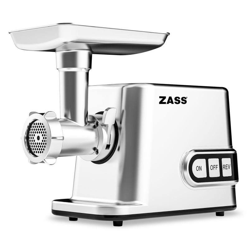 Masina de tocat cu accesoriu de rosii Zass, 3000 W, capacitate tocare 50-70 kg/ora, roti dintate metalice, 3 discuri inox incluse 2021 shopu.ro