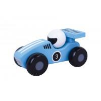 Masinuta de curse Jumini, 12.8 x 6.1 x 6.1 cm, lemn, 1 an+, Albastru