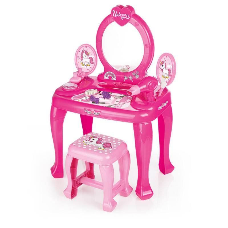 Masuta de toaleta cu scaun Unicorn Dolu, 15 piese, 3 ani+ 2021 shopu.ro