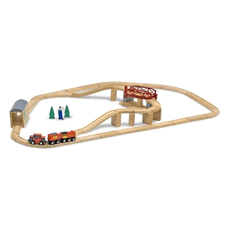Set Trenulet din lemn cu pod pivotant Melissa & Doug, 3 ani+ 2021 shopu.ro