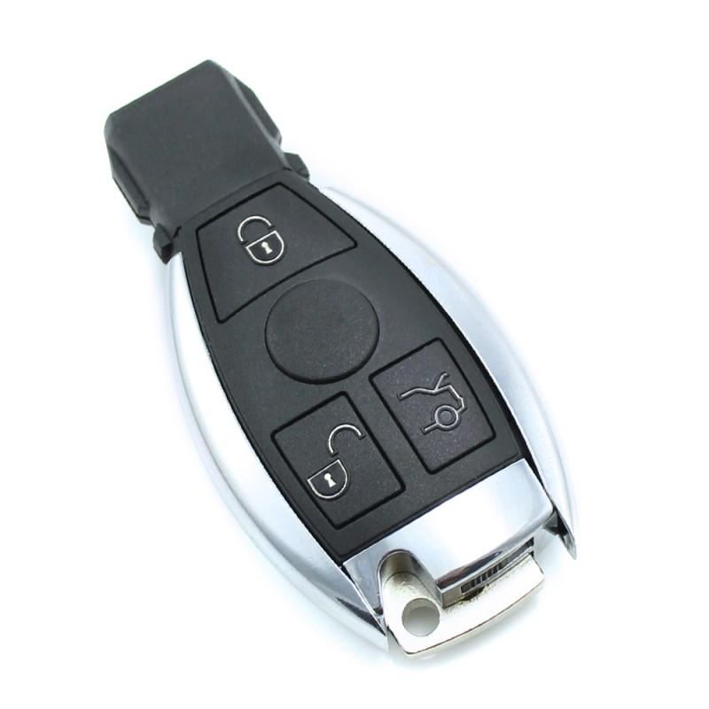 Carcasa cheie Mercedes Benz Carguard, 3 butoane, tip Smartkey, model 1, Negru/Argintiu 2021 shopu.ro