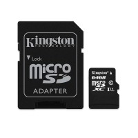 Card microSD Kingston, adaptor, 64 GB, clasa 10