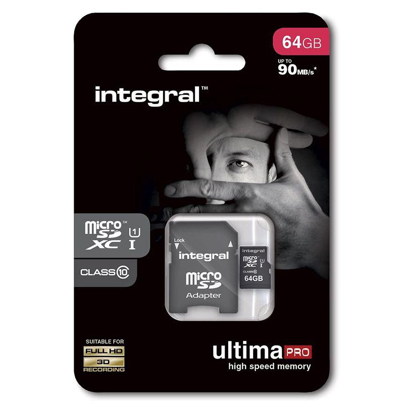 Card microSD cu adaptor Integral, 64 GB, clasa 10