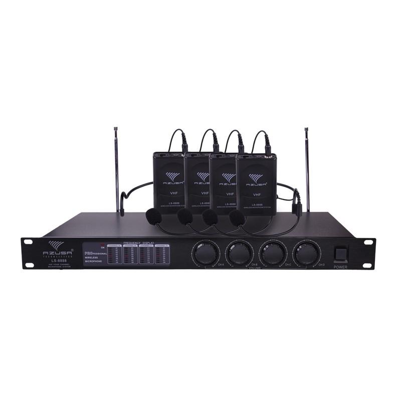 Statie cu 4 Microfoane lavaliera Azusa LS888, negru 2021 shopu.ro