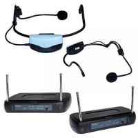 Microfon profesional wireless, 2 x iesire audio, control mute, tip casca
