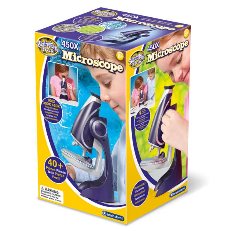 Microscop pentru copii Brainstorm, marire 450x, 40 piese, 8-12 ani 2021 shopu.ro