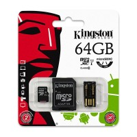 Card microSD Kingston, adaptor usb, 64 GB, clasa 4
