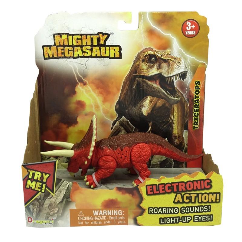 Dinozaur cu sunete si lumini Triceraptos, 21 x 20 cm, Rosu 2021 shopu.ro