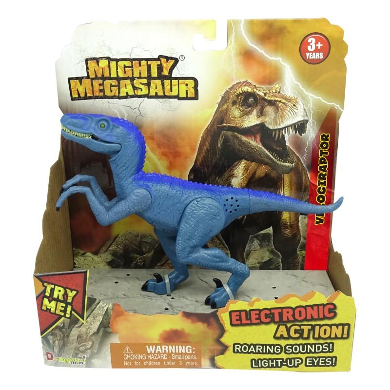 Dinozaur cu sunete si lumini Velociraptor, 21 x 20 cm, Albastru 2021 shopu.ro