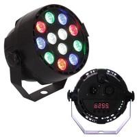 Proiector compact, 12 LED-uri RGB 3 W, 7 canale DMX, amestec de culori