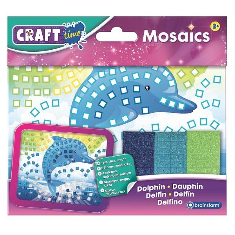 Set creativ mini-mozaic Delfin Brainstorm, 200 autocolante, 3 ani+, Multicolor 2021 shopu.ro