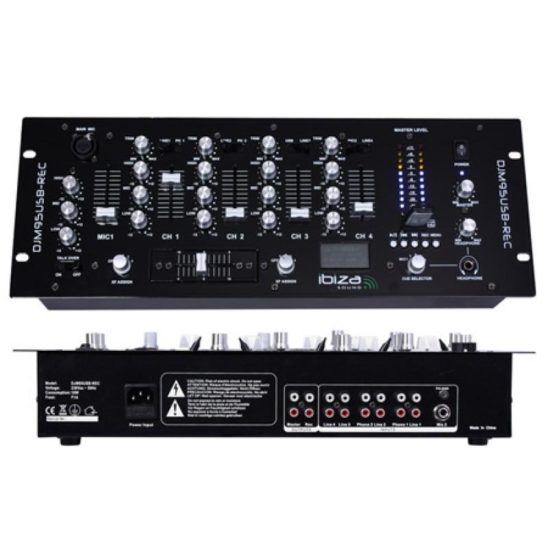 Mixer DJ Ibiza, 19 inch, inregistrare USB, 4 canale, REC 2021 shopu.ro