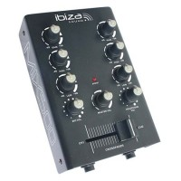 Mixer DJ Ibiza, 2 canale, 1 intrare microfon, iesire pentru inregistrare